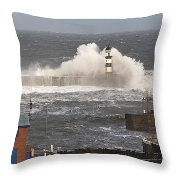 Seaham, Teesside, England Waves Throw Pillow by John Short