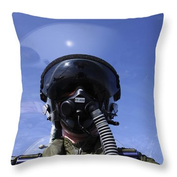 Self-portrait Of A Pilot Flying Throw Pillow by Daniel Karlsson