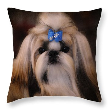 Shih Tzu Throw Pillow by Jai Johnson