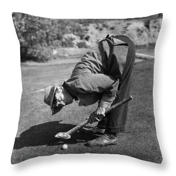 Silent Film Still: Golf Throw Pillow by Granger