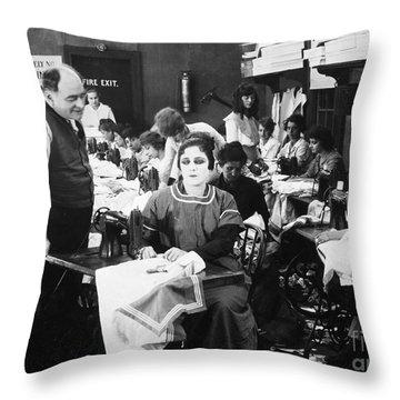 Silent Film Still: Sewing Throw Pillow by Granger