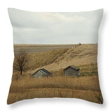 2 Small Building In Corn Field Throw Pillow by Yumi Johnson
