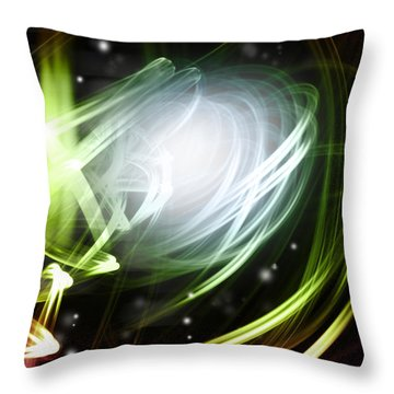 Space Background Throw Pillow by Les Cunliffe