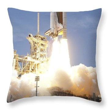Space Shuttle Atlantis Twin Solid Throw Pillow by Stocktrek Images