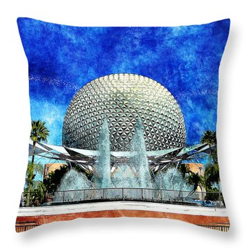 Throw Pillow featuring the digital art Spaceship Earth And Fountain Of Nations by Sandy MacGowan