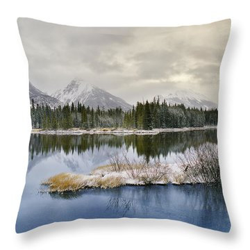 Spillway Lake And The Opal Range, Peter Throw Pillow by Darwin Wiggett