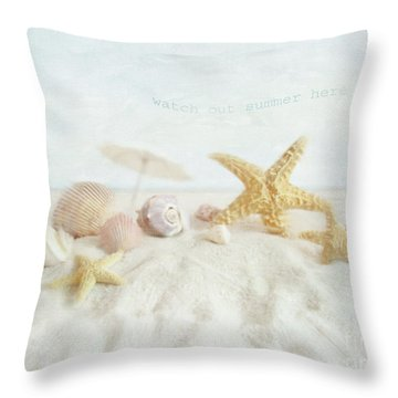 Starfish And Seashells  At The Beach Throw Pillow by Sandra Cunningham