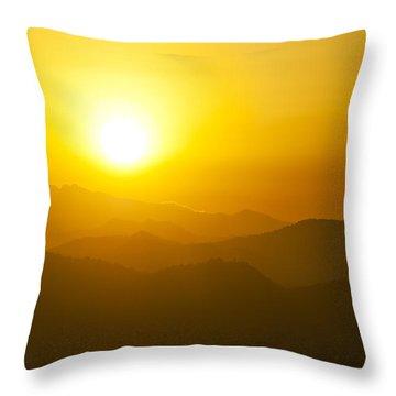 Sunset Behind Mountains Throw Pillow by U Schade