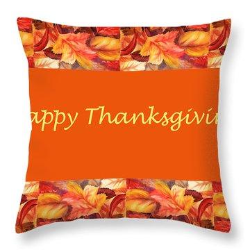 Thanksgiving Card Throw Pillow by Irina Sztukowski