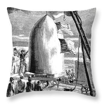 Verne: Earth To Moon Throw Pillow by Granger