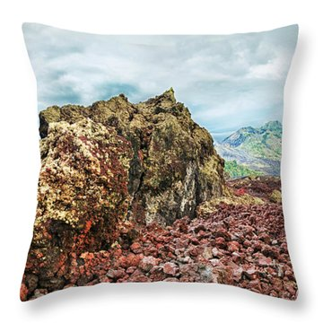 Volcano Batur Throw Pillow by MotHaiBaPhoto Prints