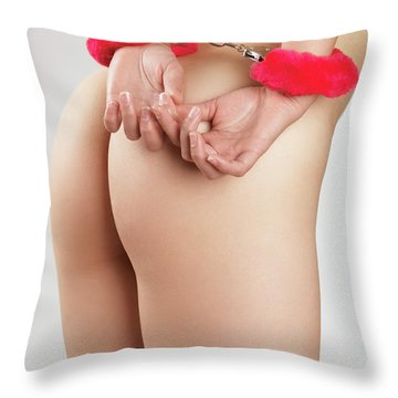 Woman Hands In Pink Handcuffs Throw Pillow by Oleksiy Maksymenko