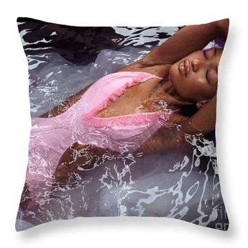 Woman In Swimsuit Lying In Water Throw Pillow by Oleksiy Maksymenko
