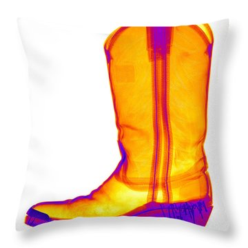 X-ray Of A Cowboy Boot Throw Pillow by Ted Kinsman