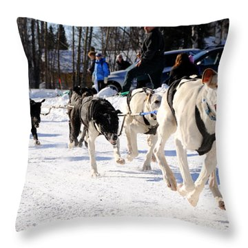 2011 Open North American Sled Dog Race Throw Pillow by Gary Whitton