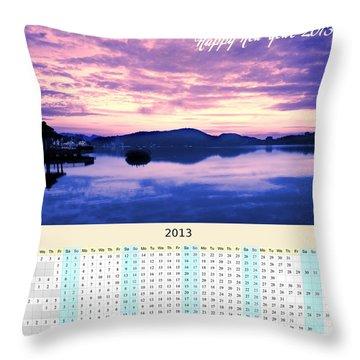 2013 Wall Calendar With Sun Moon Lake Sunrise Throw Pillow by Yali Shi