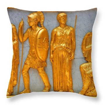 24 Kt. Gold Greek Figures Throw Pillow by Linda Phelps