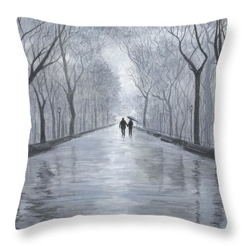 A Walk In The Park In Black And White Throw Pillow by Stuart B Yaeger
