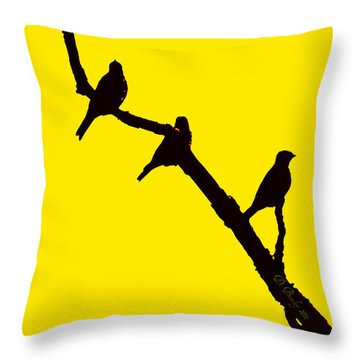 Throw Pillow featuring the photograph 3 Birds On A Limb by Donna Bentley