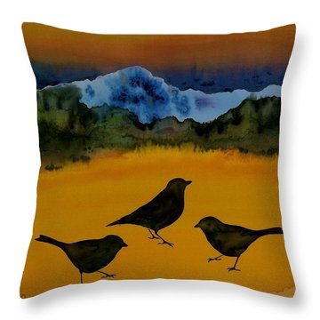 3 Blackbirds Throw Pillow by Carolyn Doe