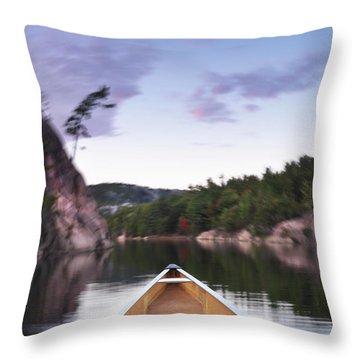 Canoeing In Ontario Provincial Park Throw Pillow by Oleksiy Maksymenko