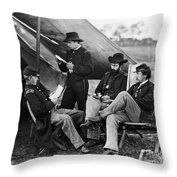 Civil War: Union Officers Throw Pillow by Granger