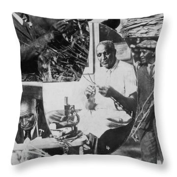 George W. Carver, African-american Throw Pillow by Science Source