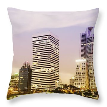 Night Scenes Of City Throw Pillow by Setsiri Silapasuwanchai