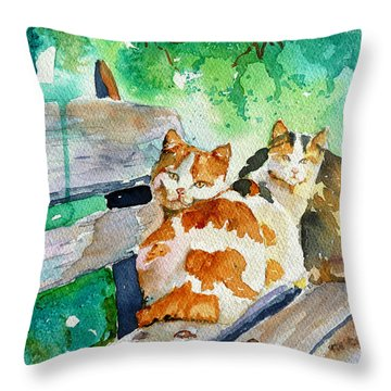 Throw Pillow featuring the painting 3 On A Bench by P Maure Bausch
