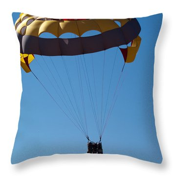 Throw Pillow featuring the photograph 3 People Para-sailing Pachmarhi by Ashish Agarwal