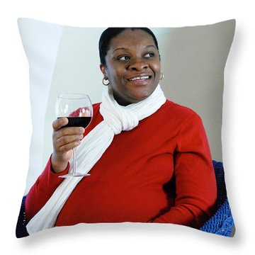 Pregnant Woman Drinking Wine Throw Pillow by Photo Researchers