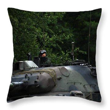 Tank Commander Of A Leopard 1a5 Mbt Throw Pillow by Luc De Jaeger