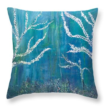 3 White Trees Throw Pillow by Dolores  Deal