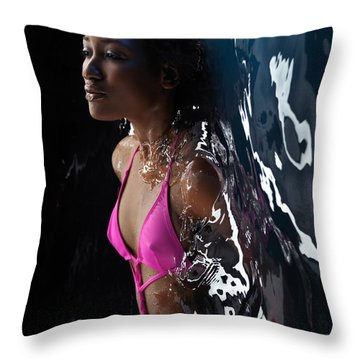 Woman In Swimsuit Lying In Water Throw Pillow by Oleksiy Maksymenko