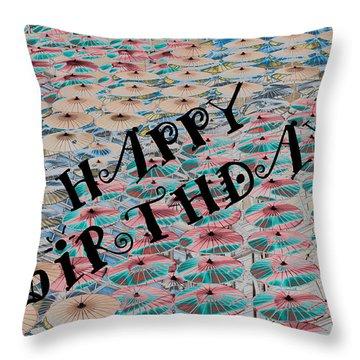 World Of Umbrellas Throw Pillow by Trish Tritz