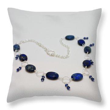 3589 Blue Sea Sediment Jasper Necklace Throw Pillow by Teresa Mucha