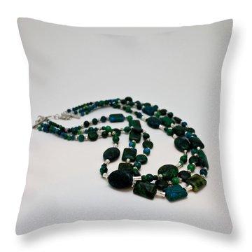 3609 Australian Jasper Triple Strand Necklace Throw Pillow by Teresa Mucha