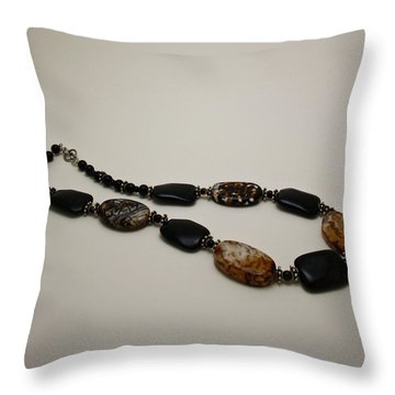 3617 Crackle Agate And Onyx Necklace Throw Pillow by Teresa Mucha