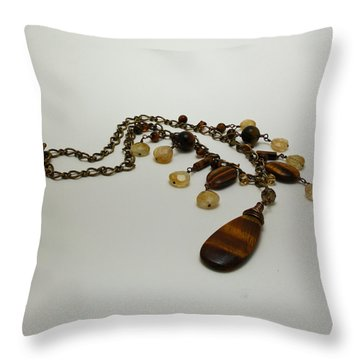 3618 Tigereye And Citrine Necklace Throw Pillow by Teresa Mucha