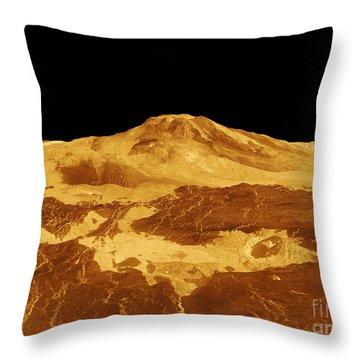 3d Perspective View Of Maat Mons Throw Pillow by Stocktrek Images