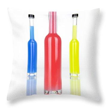 Glass Bottles Throw Pillow by Joana Kruse