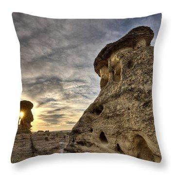 Hoodoo Badlands Alberta Canada Throw Pillow