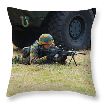 Infantry Soldiers Of The Belgian Army Throw Pillow by Luc De Jaeger