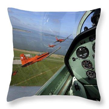 Inside The Pilatus Pc-7 Turboprop Throw Pillow by Daniel Karlsson