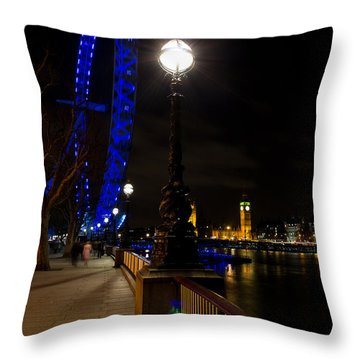 London Eye Night View Throw Pillow by David Pyatt
