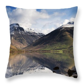 Mountains And Lake, Lake District Throw Pillow by John Short