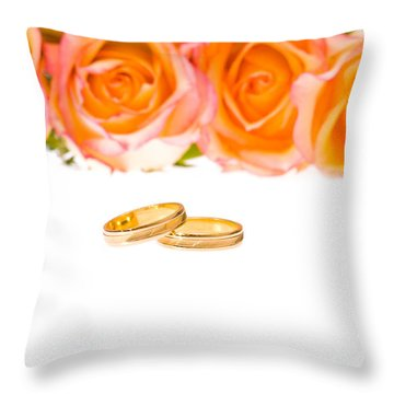 4 Red Yellow Roses And Wedding Rings Over White Throw Pillow by Ulrich Schade