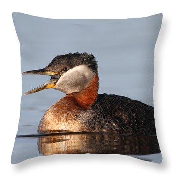 Rednecked Grebe Throw Pillow