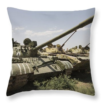 Russian T-54 And T-55 Main Battle Tanks Throw Pillow by Terry Moore