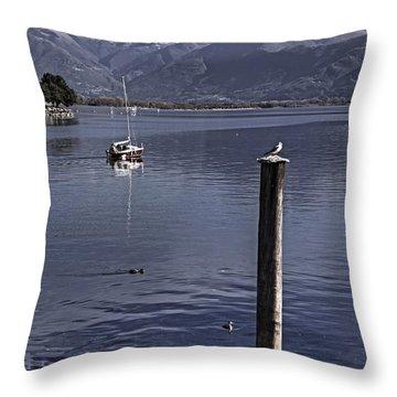 Sailing Boat Throw Pillow by Joana Kruse